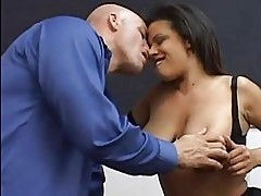 Hot ass latina milf in black stockings sucks cock in office