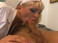 Blonde milf Nurse can't live without to engulf big hard cock