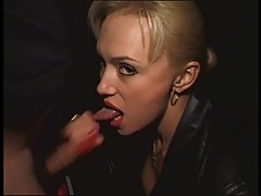 Horny blonde Russian babe sucks a stiff dick outdoors