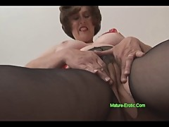 Big tits mature with hairy pussy in pantyhose