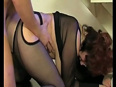 Busty milf enjoys oral pleasures with young guy before fucking