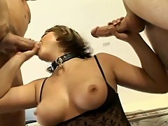Hot buy fondles busty chick's tits