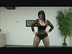 Chubby milf pees in her slave
