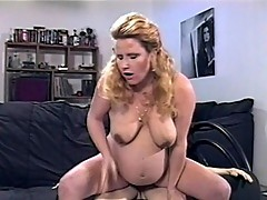 Horny mom to be Clara plays with her twat
