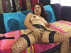 Hairy pussy mature in fishnets fucked hard