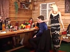 Blonde Russian Slut MILF Gets Two Cocks