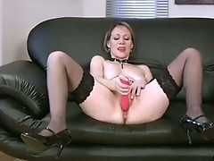 Blonde granny tiffany long fun with toy