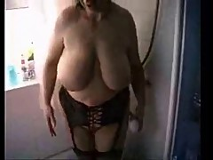 Big saggy tits in shower