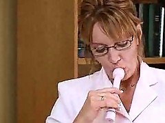 Feeling up her tits at works makes her mature pussy wet