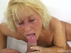 Horny czech granny eating cock and pussy fucked