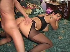 Big tits babe in stockings fucked lustily