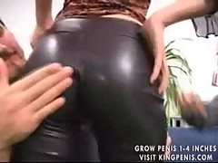 Chick in leather pants fucked by three guys