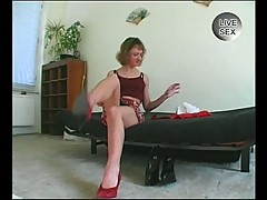 Hot skinny blonde gives husband sexy teddy show