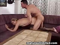 Blonde Granny Screams Out Loud When His Young Cock Invades Her Old Snatch