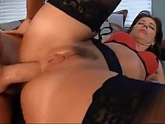 Curvy brunette milf with small tits anal