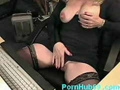 Horny mature masturbating and squirting while watching porn