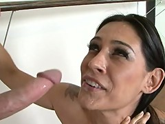 Great beaver on brunette milf Raylene as she standing fucks a student