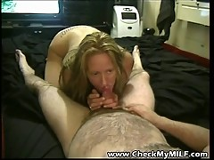 Amateur MILF sucking hubby's cock dry