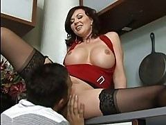 Amazing busty brunette milf getting her cunt licked and fuck...