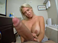 Hot milf cleans the house and drains the cum from your cock