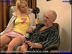 Gina blonde fucks granpa
