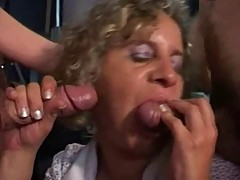Even, french blonde mature in threesome