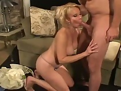 Horny chick fools around with younger man