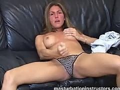 Jerk off teacher goes topless to tease men to masturbate fast