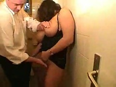 Milf with big tits fucked in a toilet