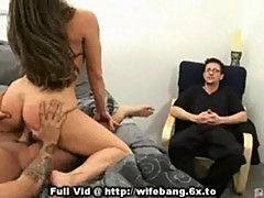Husband watching wife banged