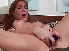 Nasty blonde MILF bitch toys her hungry twat