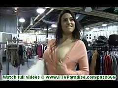 Rikki hot latina milf with big tits flashing tits and stroking pussy in public