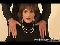 Mature stockings british slut gives footjob cumshot