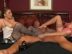 Two Mature Women Give a Stockings Footjob
