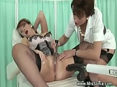 Mature enjoys sex machine at the dentist