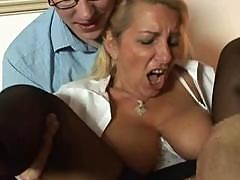 Hot Blonde German Mature Gets Two Old Guys Banging Both Holes