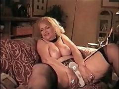 Trashy German Blonde Mature With Big Boobs Toys Pussy And Eats Cock