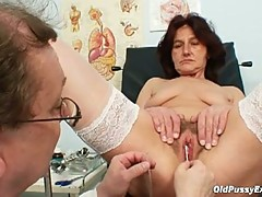 Nasty grandpa doctor for granny linda's hairy old pussy
