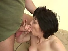 Saggy Titted Brunette Mature Gets Her Hairy Pussy Banged and Jizzed On