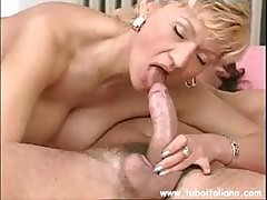 Mature Italian Gal With Champagne-colored Hair Goes Down On His Cock