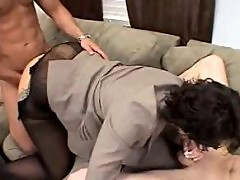 Mature Becky blows cock while banged