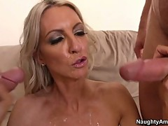 Tart Emma Starr gets splattered with cock sauce