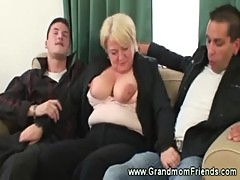 Two guys taking advantage of granny
