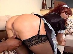 She dresses as a French maid and gets fucked