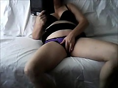 wife alone Masturbating on the couch with ...