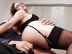 Sexy MILF in glasses gets rammed by a big cock