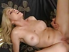 Tight ass pale blonde momma with huge bosom gets rammed