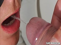 Toilet slut wife drinks piss