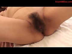 Mature Woman Getting Her Hairy Pussy Fucked Hard By Young Guy Creampie On The Bed In The Bedroom