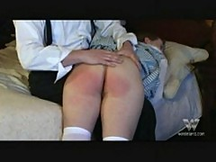 Spanked over his knee